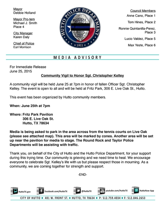PR DOC - Police Media Advisory